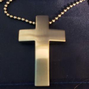 Stainless steel matt finish solid cross